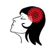 Vector sketch - girl's profile with red flower in hair