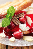Puff pastry with mascarpone and cranberry sauce