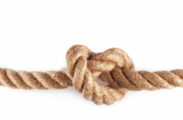 Rope with Reef Knot isolated on the white Background