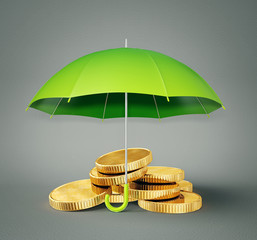 coin under umbrella