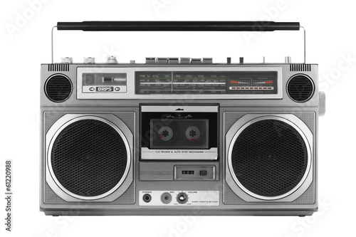 Retro ghetto blaster isolated on white with clipping path - 61220988