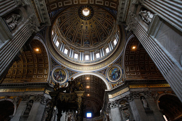 Interior of dome of Saint Peter's basilica, Rome