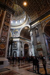 Interior of dome of Saint Peter's basilica, Rome, with tourists