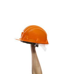 male hand rising up orange safety helmet isolated on white backg