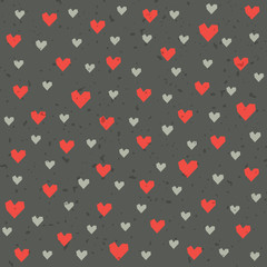 seamless hipster hearts pattern in red and gray