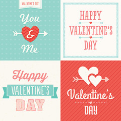 hipster typographic valentine cards in pastel colors