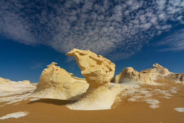 Unusual rock formations in White desert, Farafra, Egypt