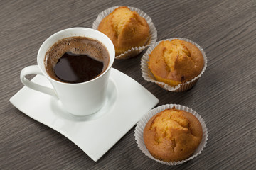 cups of coffee and muffins