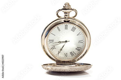 Silver pocket watch isolated on white