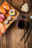 Fresh and tasty oriental sushi, Japanese theme