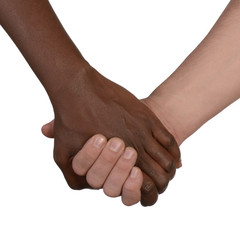 Schwarze und weisse Hand Liebe Partnerschaft