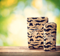 Mustache pattered gift boxes