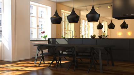 3D Appartment-Küchen-Szene