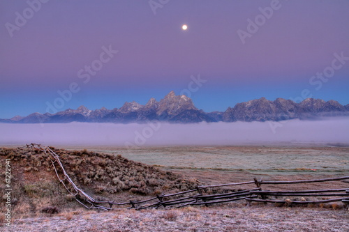 Grand Teton Moon Set at Sunrise