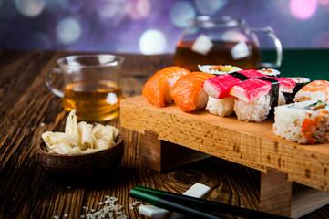 Japanese seafood, sushi set