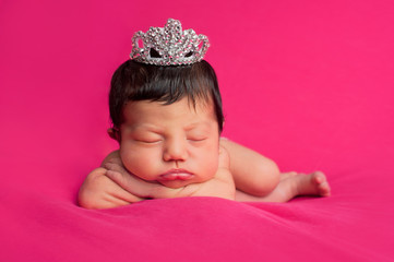Newborn Baby Girl with Rhinestone Tiara
