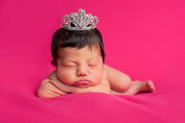 Newborn Baby Girl with Rhinestone Tiara
