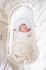 Newborn Baby Girl Sleeping In Cot