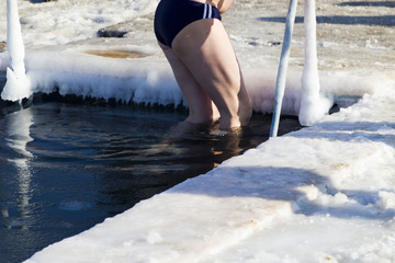 Bathing in an ice-hole