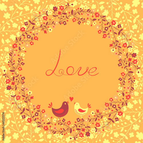 Beautiful greeting card with flowers and birds