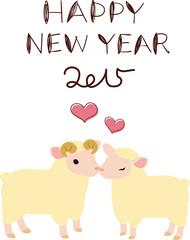 羊のカップルの年賀状素材