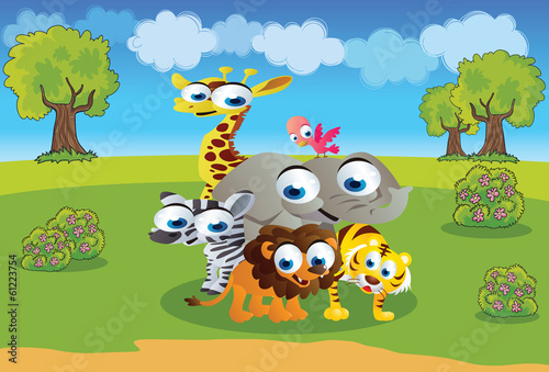 safari animals cartoon with a beautiful background scenery