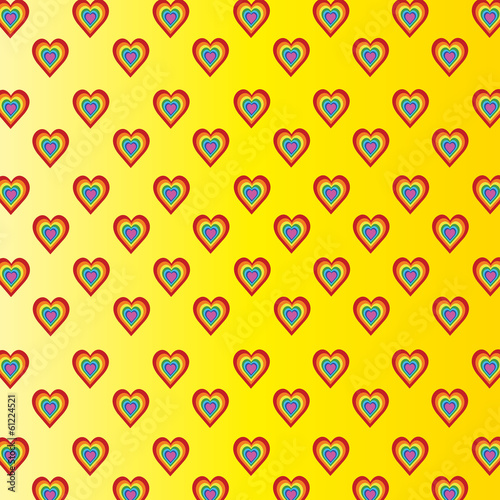 Colorful hearts on yellow background