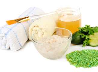 Homemade facial masks with natural ingredients, isolated