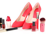 Beautiful red female shoes with cosmetics, isolated on white