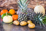 Fruits on wood background
