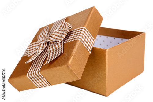 Open gift box isolated on white