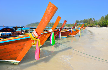Boats on beautiful beach, Lipe island, Satun, Thailand