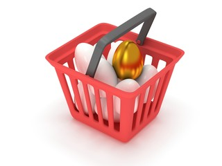 Golden egg among white eggs in shopping basket