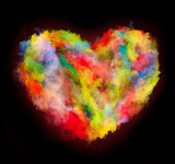 colored dust heart