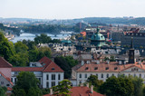 Panoramic view of the European city from the hill, Prague