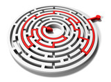 round maze with red arrow in goal