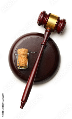 Judge's gavel and cork