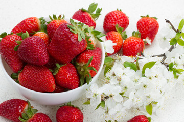 Pile of strawberries  with spring twigs