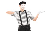 Male mime artist gesturing with hand