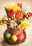 Spring flowers and Easter eggs in vintage style