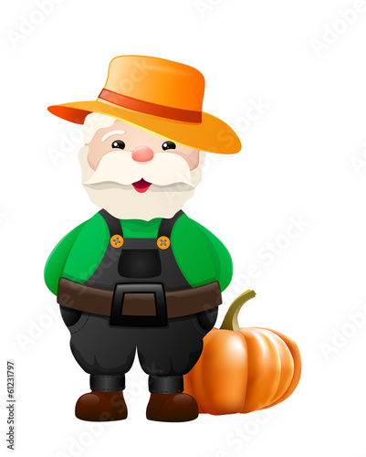 Cartoon gardener with big pumpkin - illustration