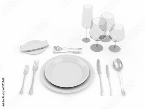 Table setting isolated on white background - 61232343
