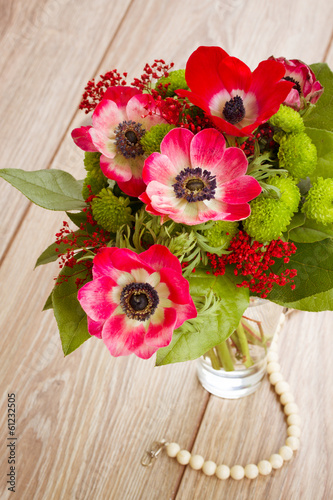 posy  of  red anemone flowers