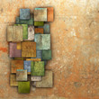 3d fragmented multiple color square tile grunge pattern backdrop