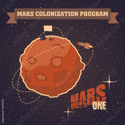 Vintage postcard of Mars colonization project