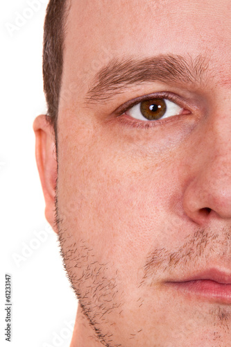 half the man's face on white background