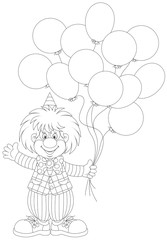 Funny clown holding balloons
