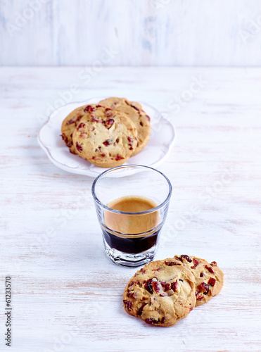 Cranberry Cookies and a Glass of Espresso