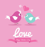 Cute couple bird in love. Valentine's Day Cards