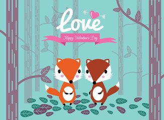 Cute couple foxes in the forest. Valentine's Day Cards